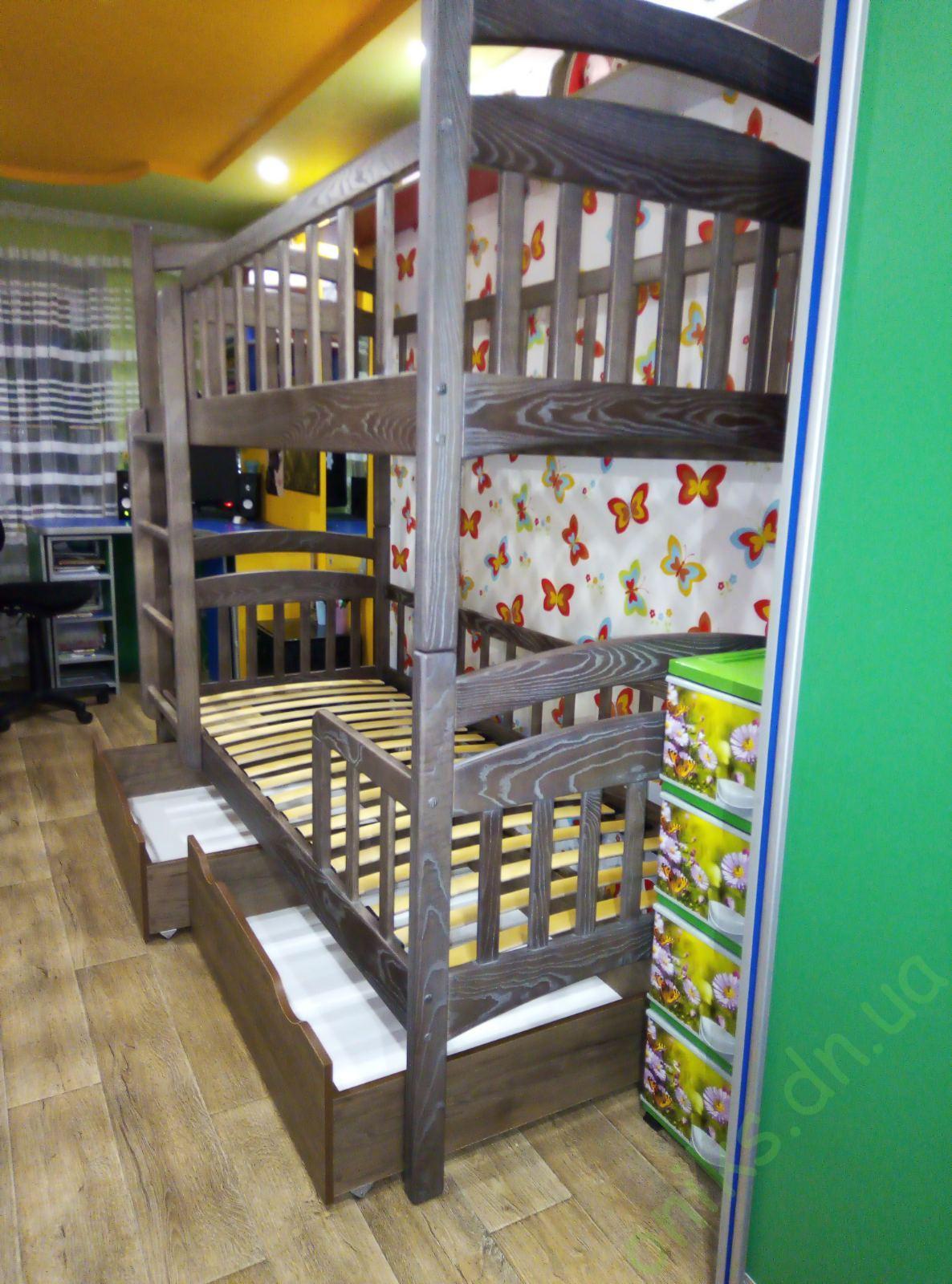 Купить деревянную двухъярусную кровать КД-02/3 в Донецке