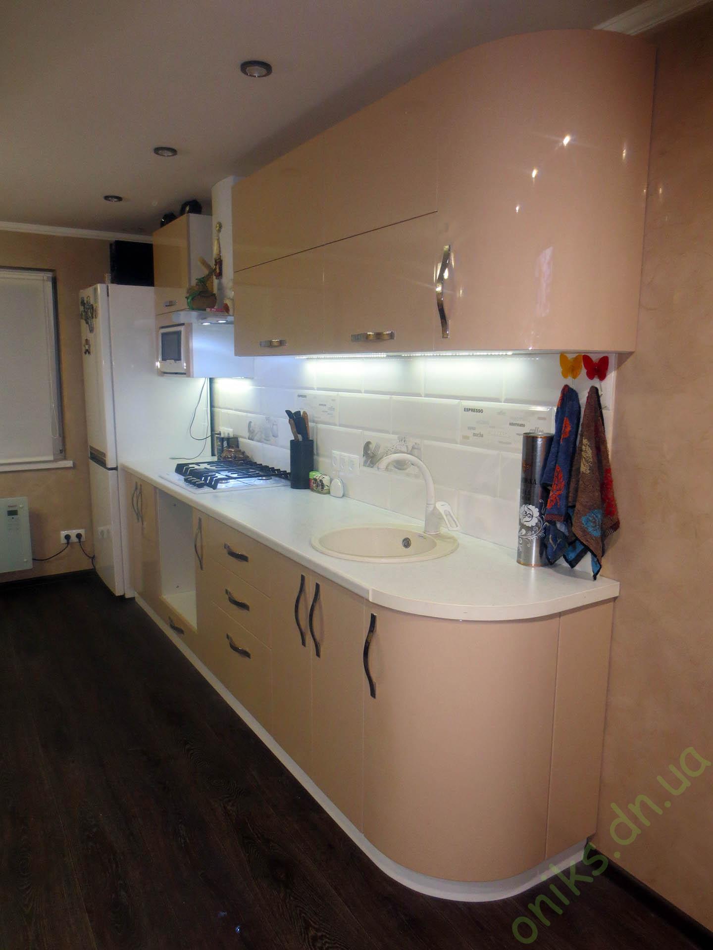 Заказать прямую кухню с крашеными фасадами Донецк