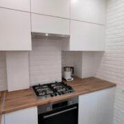 Купить кухню угловую белую со столешницей под дерево в Донецке