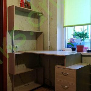 Купить стол компьютерный угловой с полками и тумбой с выдвижными ящиками в Донецке