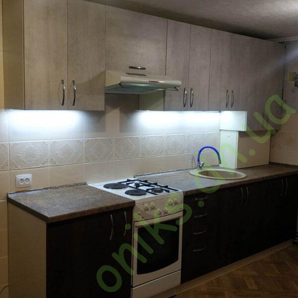 Купить кухню линейную с комбинированными фасадами в Донецке